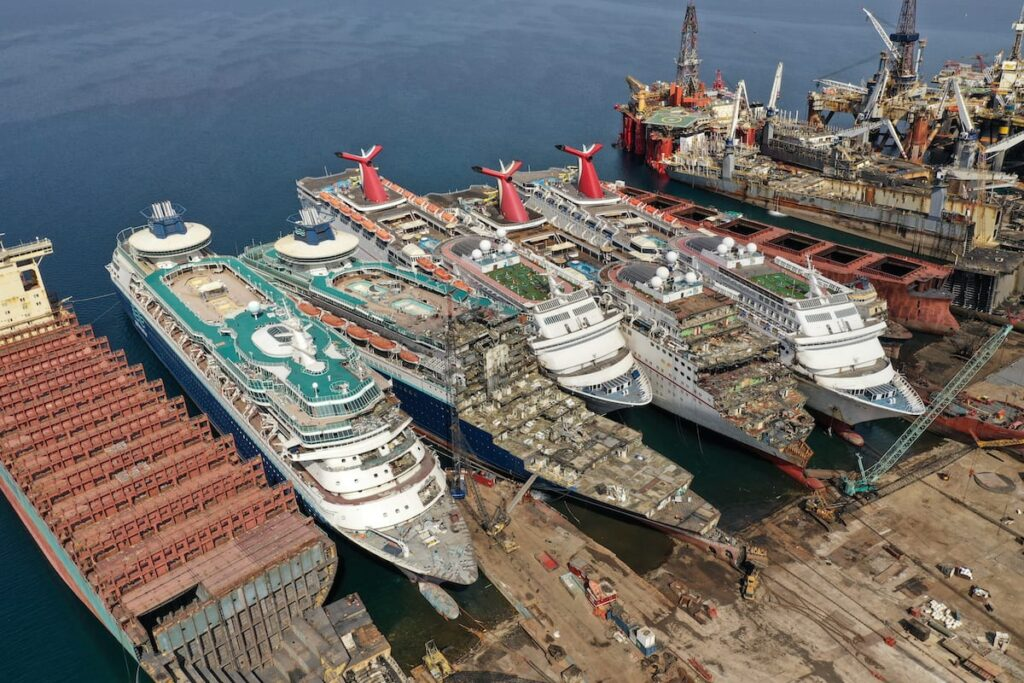 Carnival Ships at the breaking yard
